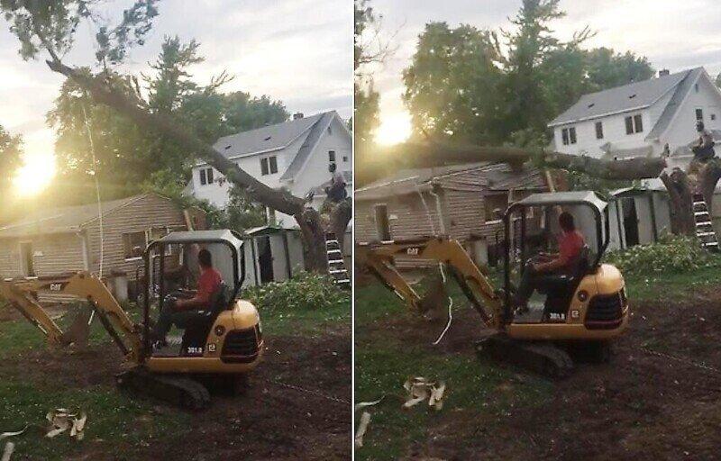 Рабочий просчитался и случайно уронил дерево на сарай
