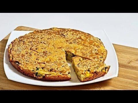 Вместо пирожков.ЛЕНИВЫЙ пирог с зеленым луком и яйцом, рецепт теста на кефире и сметане