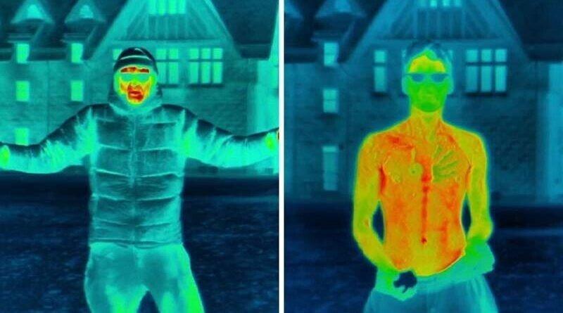 Видео, в котором показано, как человеческое тело теряет тепло во время холода