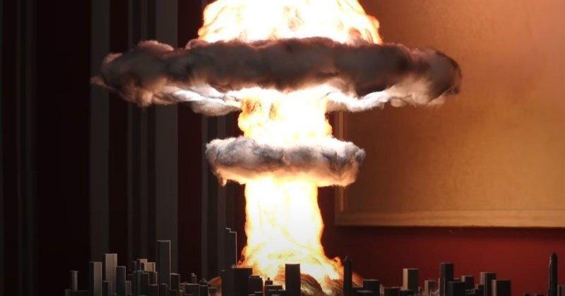 Диорама со взрывом атомной бомбы