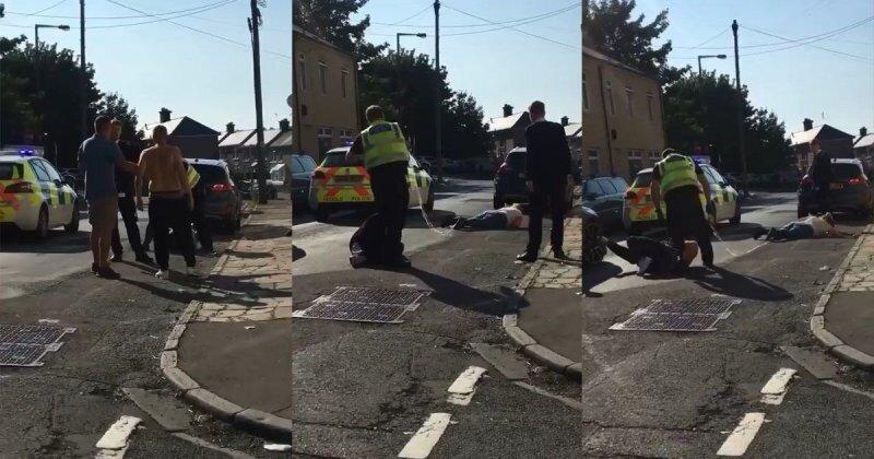 Британский полицейский утихомирил буянов при помощи электрошокера