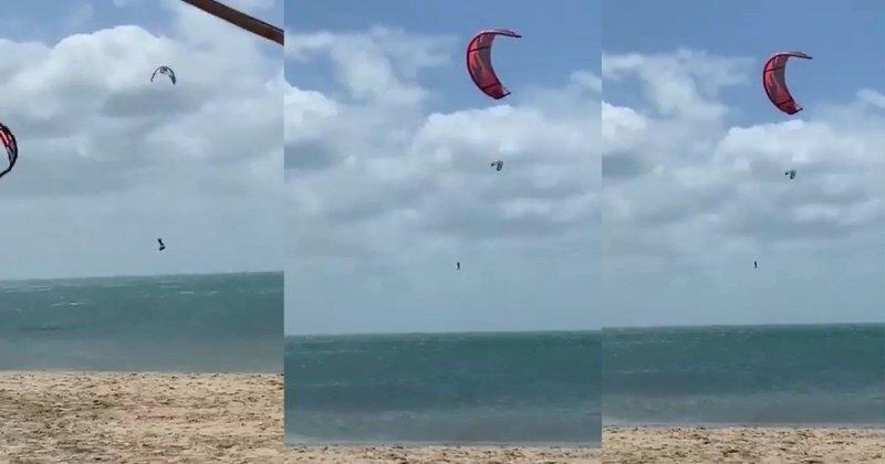 Кайт поднял сёрфера в небо на несколько десятков метров