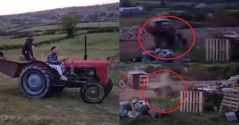 Когда попытался научить приятеля водить трактор, но что-то пошло не так