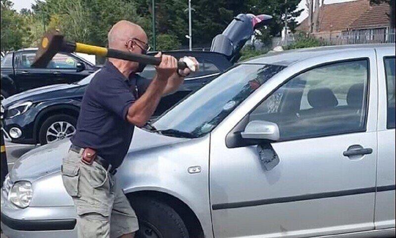 Мужчина разбил чужую машину ради спасения собаки