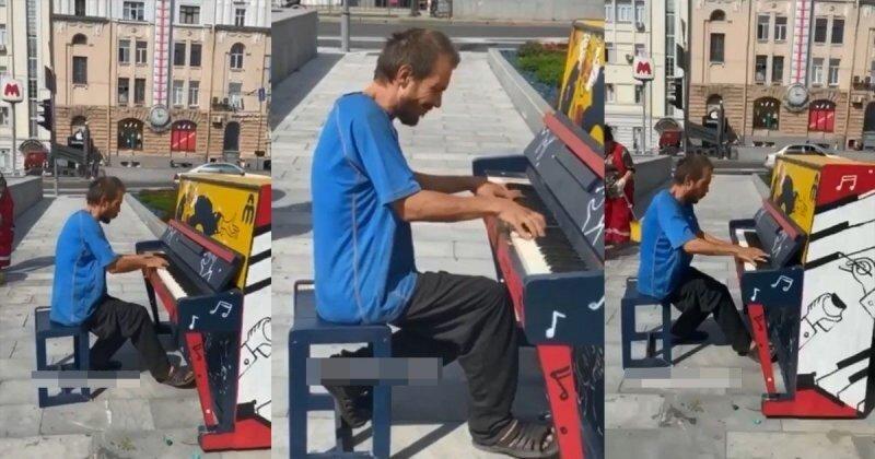 Мужчина сыграл на уличном пианино и удивил прохожих