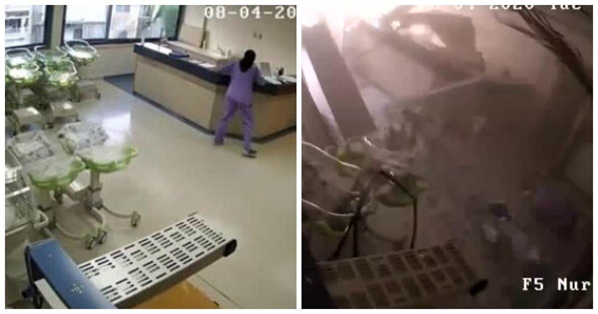 В Сети появилось видео разрушения госпиталя во время взрыва в Бейруте