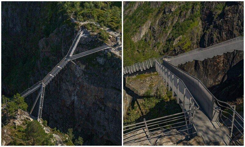 В Норвегии открыли мост через ущелье с потрясающими видами на водопад