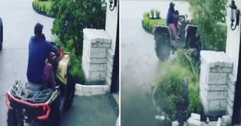 Мужчина с сыном чуть не разбились на квадроцикле перед собственным домом