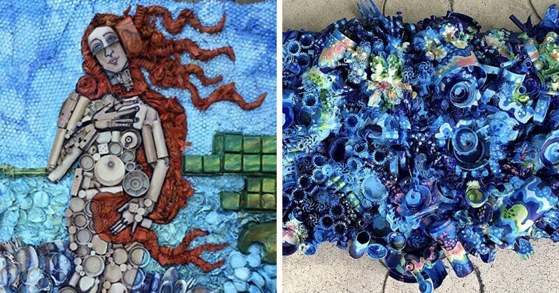 Художница рисует мусором ради человечества
