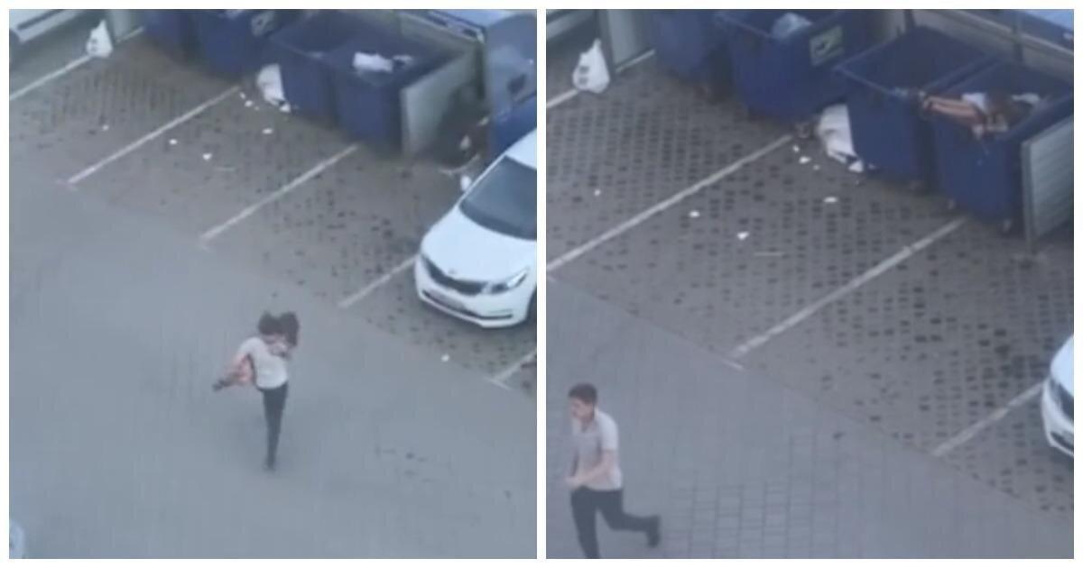 Уставший от ссоры россиянин выбросил подругу в мусорный бак
