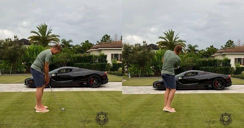 Очень дорогая Ferrari стала тренажёром для игрока в гольф