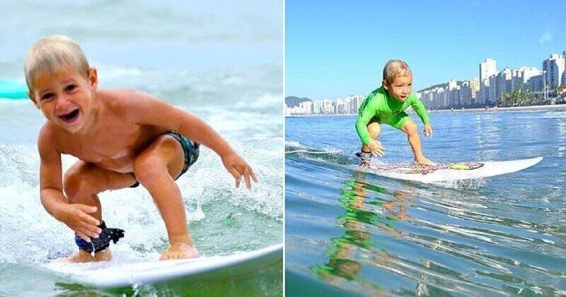 Беспечный ездок: 4-летний мальчик, который умеет ловить волны