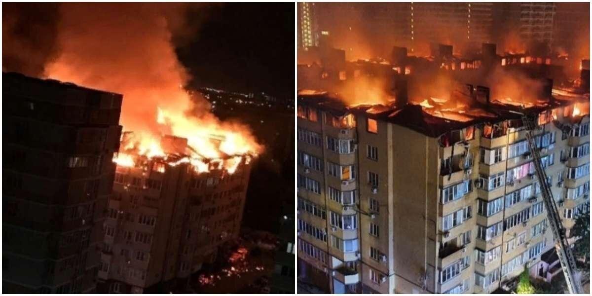 В Краснодаре сгорело 90 квартир в восьмиэтажном самострое