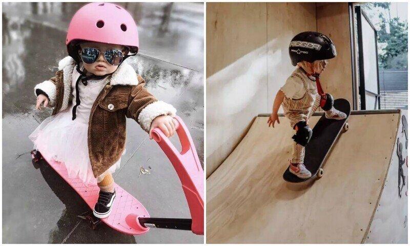 2-летняя Коко - самая маленькая скейтерша и сноубордистка