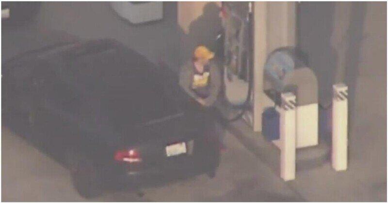 Преступник решил заправить свой автомобиль во время погони