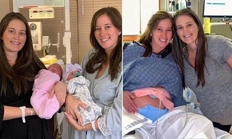 Сестры-близнецы родили дочек с разницей в полчаса