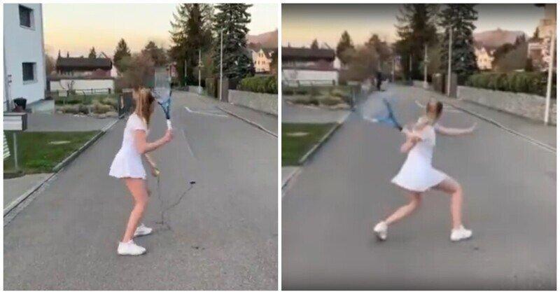 Тренировка по теннису без партнера и стены