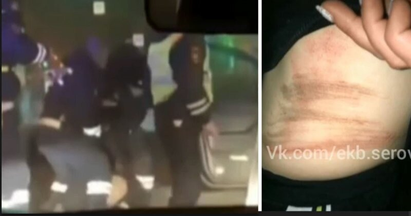 На Урале полицейский с разбега ударил ногой задержанную и попал в объектив