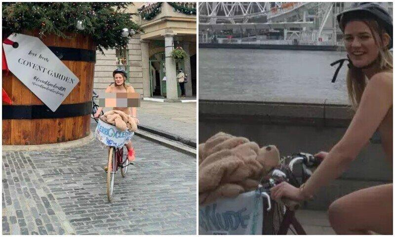 Британка голышом прокатилась на велосипеде ради благотворительности