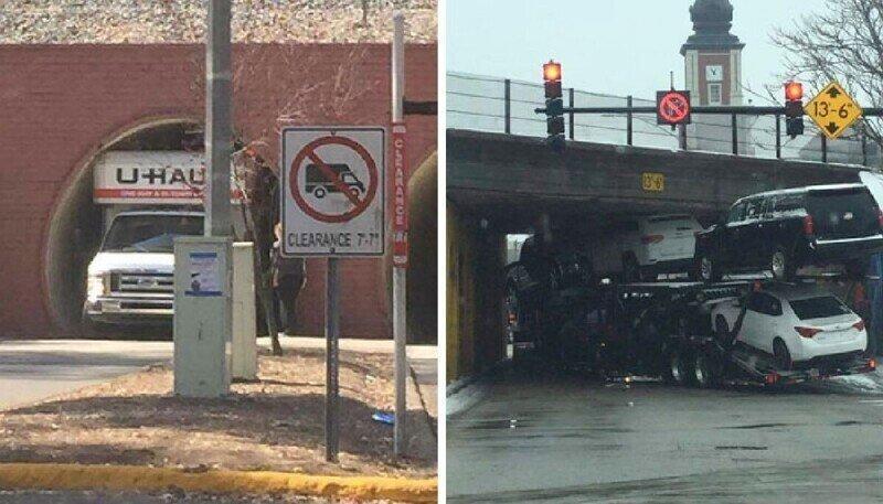 30 грузовиков и автобусов, которые попытались проехать под мостом, но тут же пожалели об этом