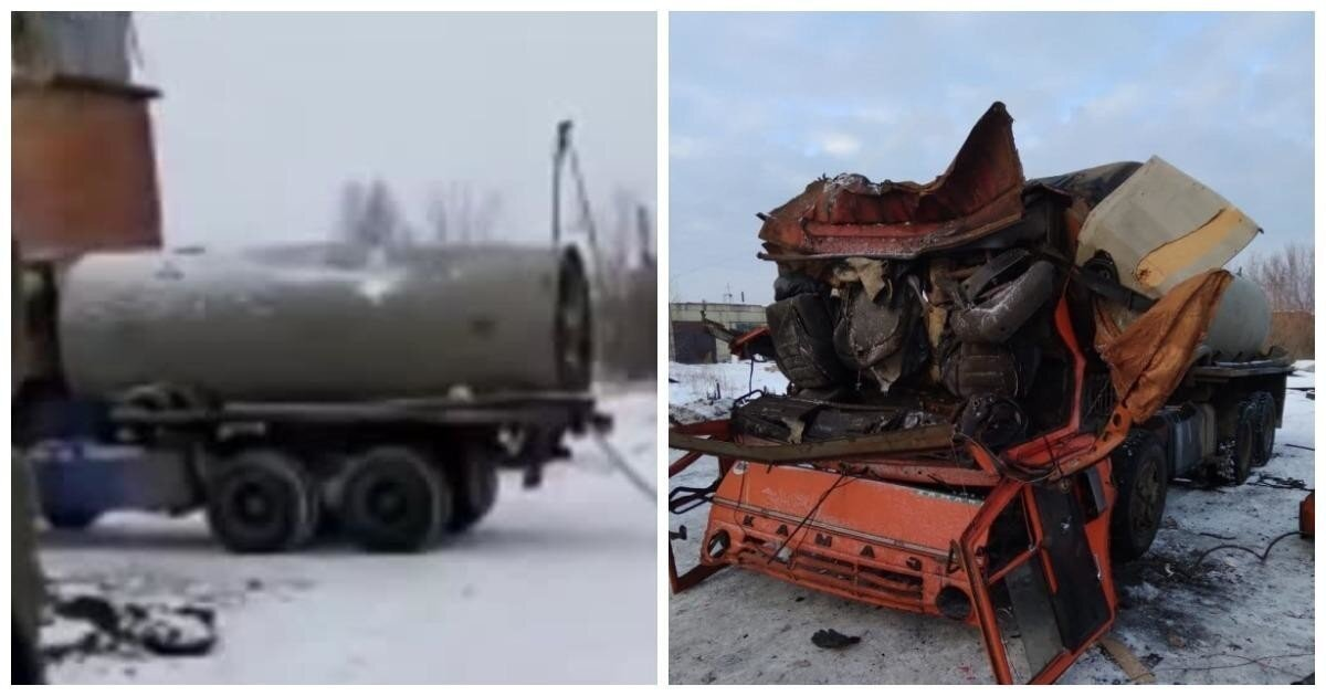 Жители Курганской области взорвали КамАЗ, пытаясь выпрямить цистерну