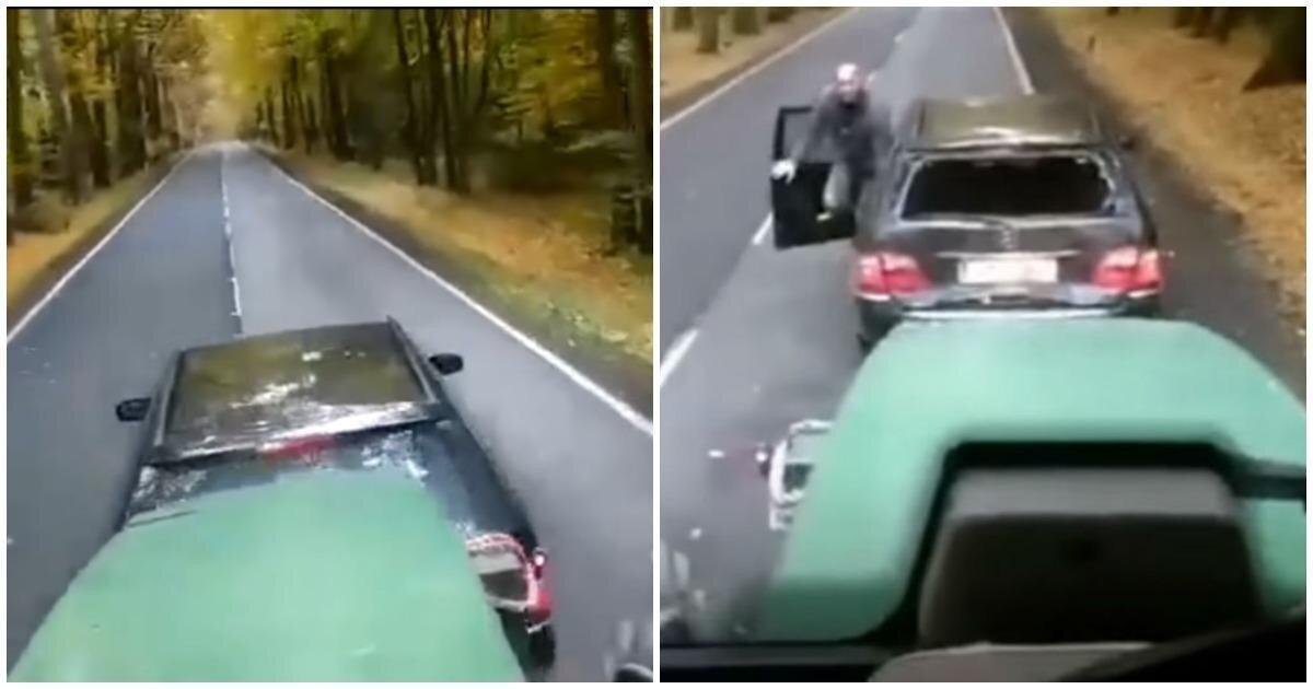 """Водитель Mercedes решил """"поучить"""" тракториста, но вскоре пожалел об этом"""