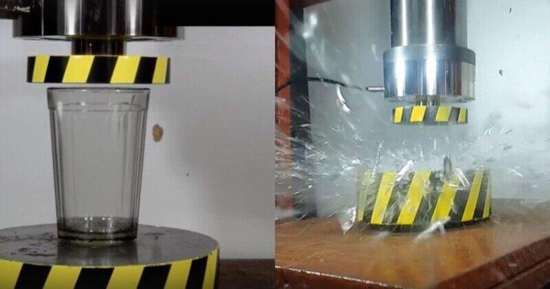 Экспериментатор проверил, какую нагрузку выдерживает советский граненый стакан