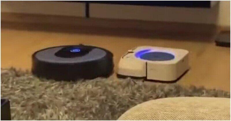 Схватка роботов-пылесосов под эпичный саундтрек