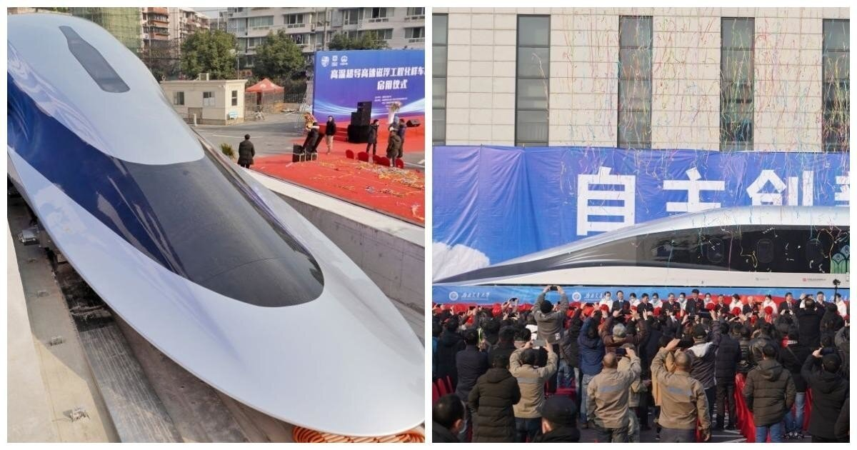 В Китае торжественно презентовали первый в мире поезд на магнитной подушке