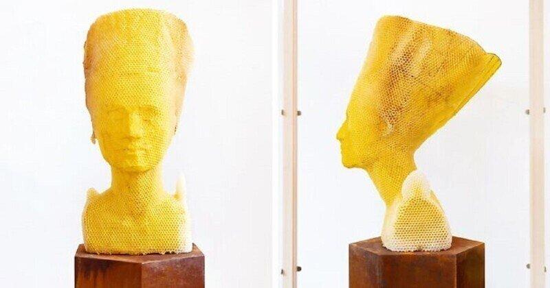 Пчелы помогли художнику создать бюст Нефертити