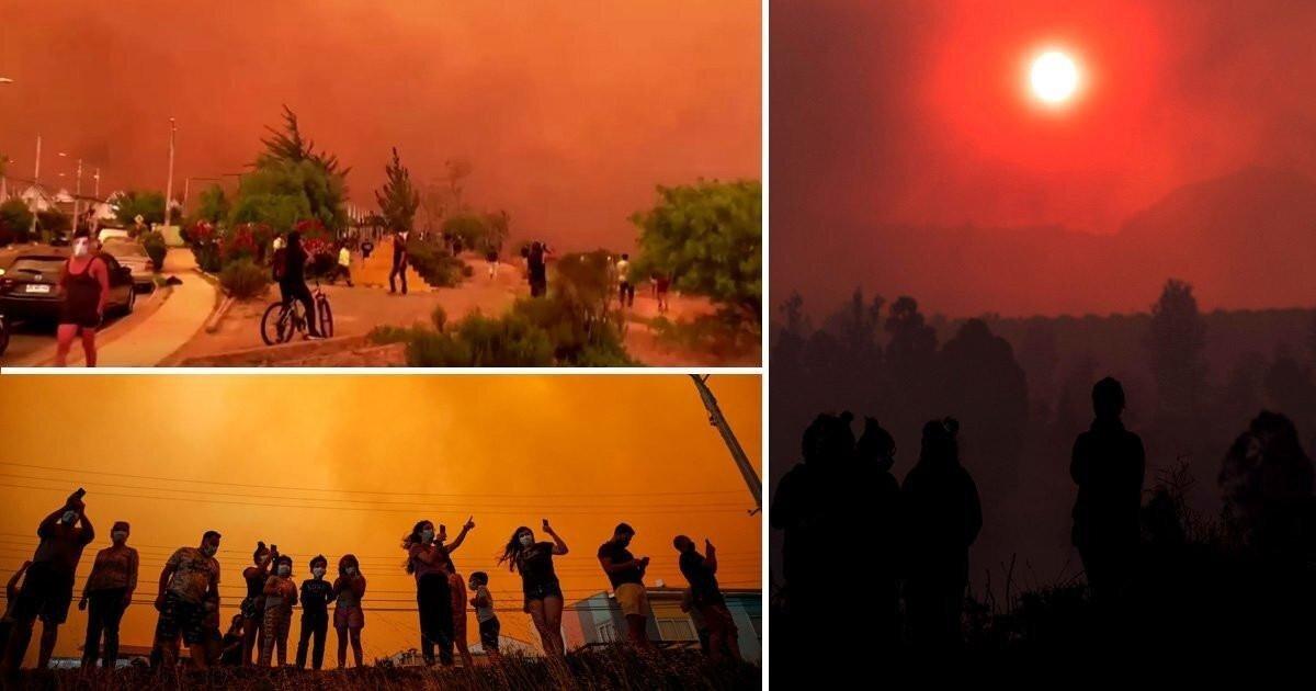 Лесные пожары окрасили чилийское небо в красный