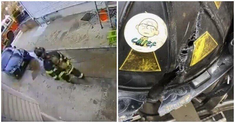 На голову американского пожарного упал кондиционер