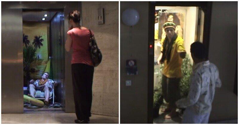 Двери открываются: француз устраивает неожиданные и дерзкие розыгрыши в лифте