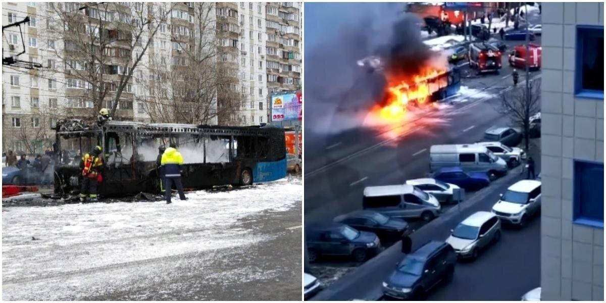 В Москве, во время движения, загорелся пассажирский автобус