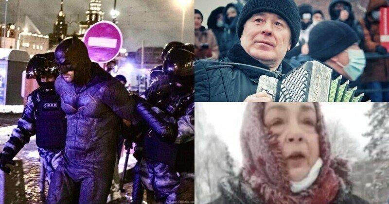 Милонов, Бэтмен, бабушка с мандаринами: самые необычные персонажи митингов 31.01.2021