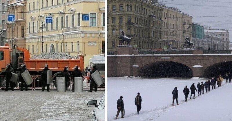 Питер в оцеплении: а Невский проспект горожане переходили по льду
