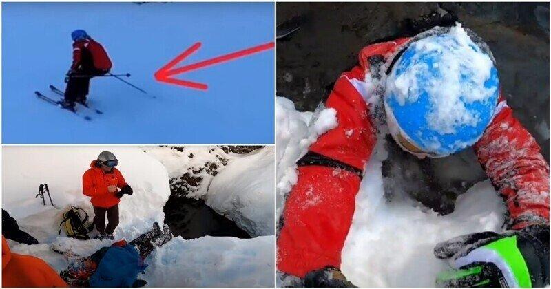 Беспечный лыжник едва не погиб, упав в яму с ледяной водой в Сочи