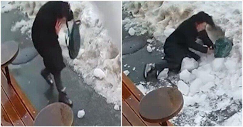 В Киеве на женщину рухнула глыба льда с крыши дома