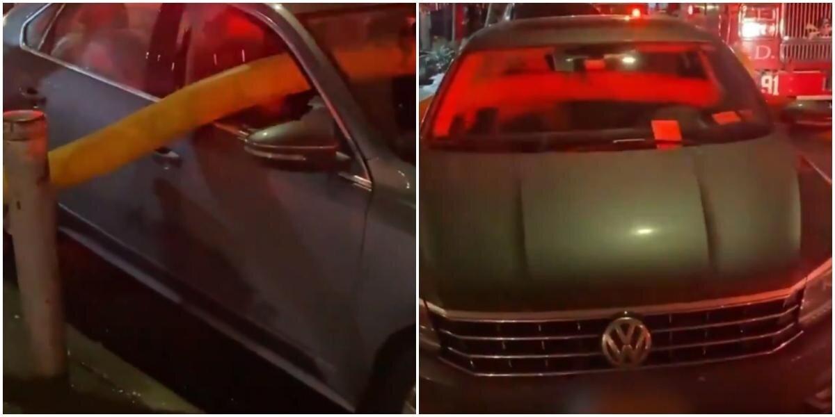 """Пожарные пронесли шланг прямо сквозь авто """"мастера парковки"""""""