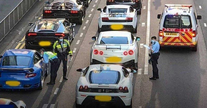 Полиция Гонконга остановила сразу 45 экзотических суперкаров за уличные гонки