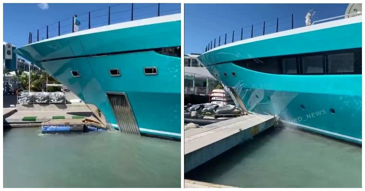 Роскошная яхта протаранила причал на острове Сен-Мартен