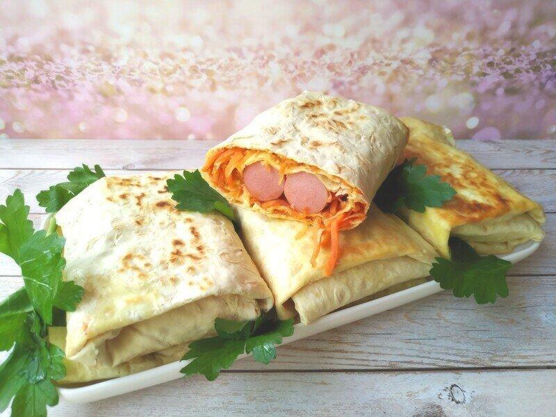 Домашний фастфуд: хот-дог в лаваше, 5 минут и готово (без майонеза)!