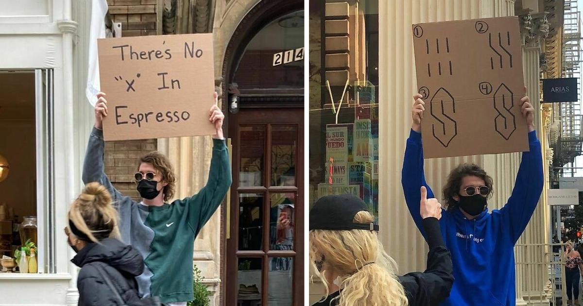 «Чувак с табличкой» собрал 7,4 миллиона подписчиков протестами против всего, что бесит