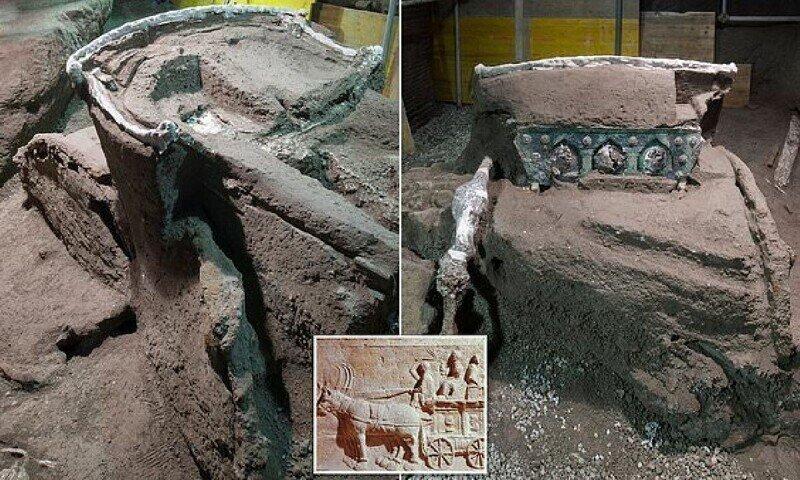 В Помпеях обнаружили полностью сохранившуюся церемониальную колесницу