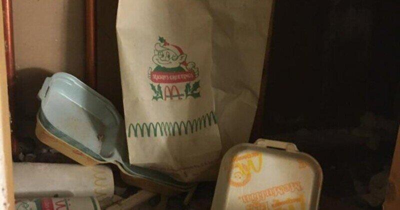 Парень нашёл упаковку от Макдоналдса аж 1977 года