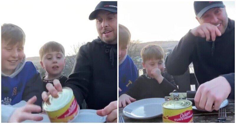 Реакция шотландского семейства на сюрстрёмминг