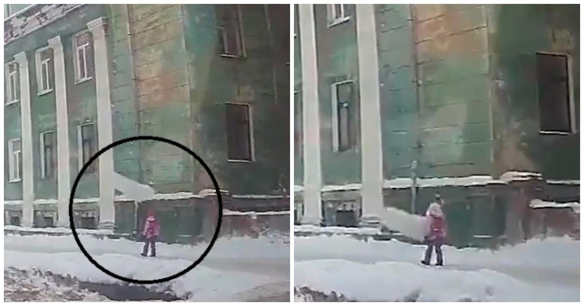 Снежная глыба едва не убила маленькую девочку в Северодвинске