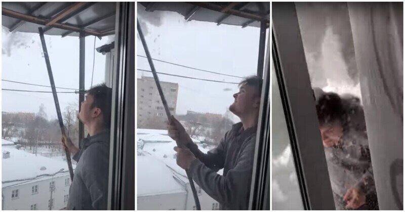 Уборка снега с крыши пошла не по плану