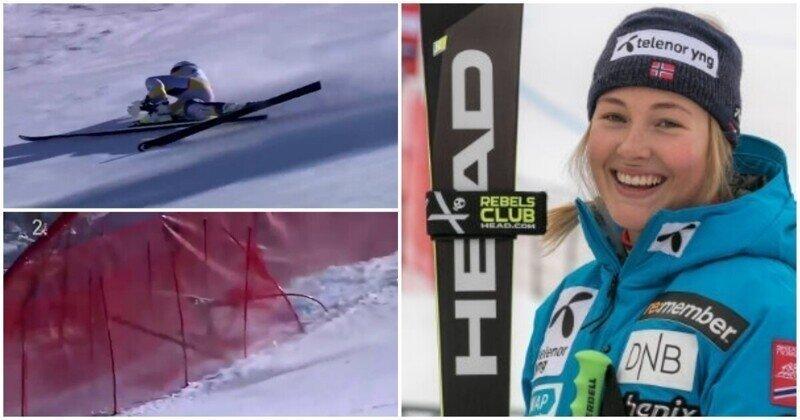 Лыжницу пришлось эвакуировать на вертолете после жуткого падения на соревнованиях в Италии