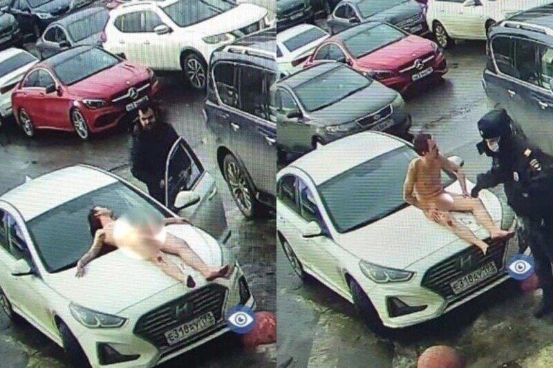 Житель Петербурга в костюме Адама встретил первый день весны на капоте авто